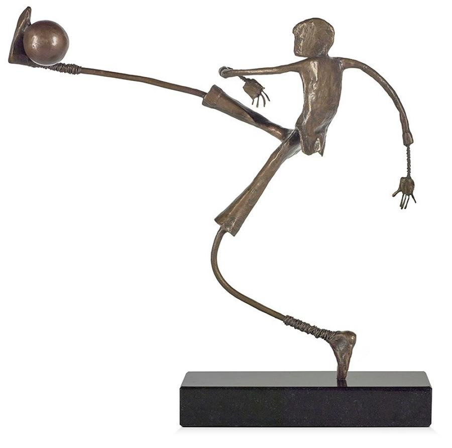 Ed Rust - Go for Goal - Solid Bronze Sculpture