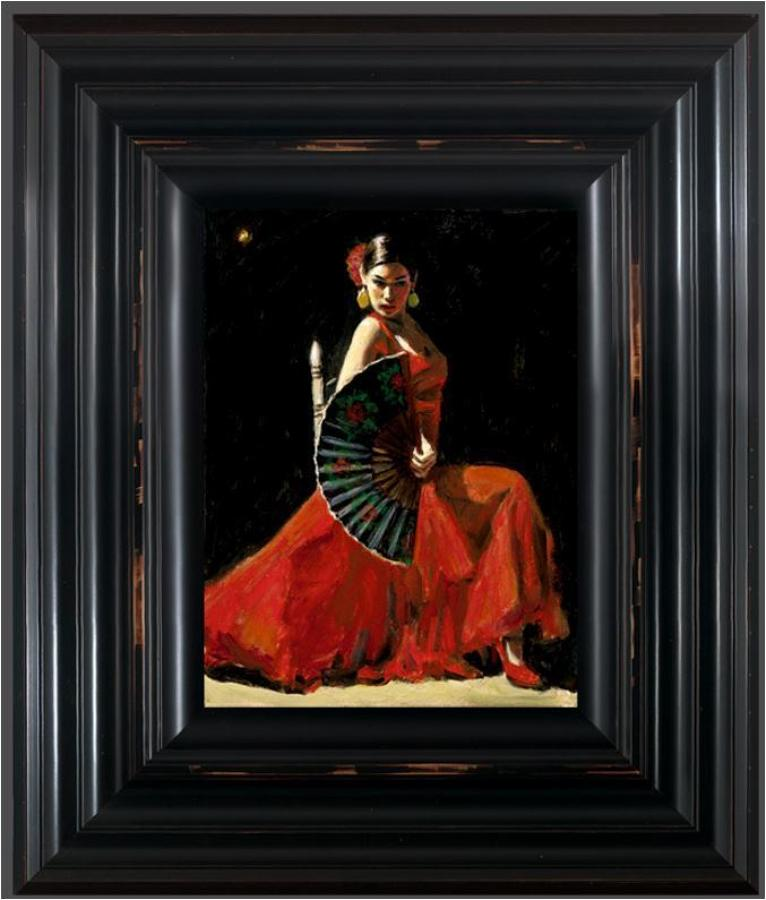 Fabian Perez - Study for Celina with Abanico IV - Framed Art Print
