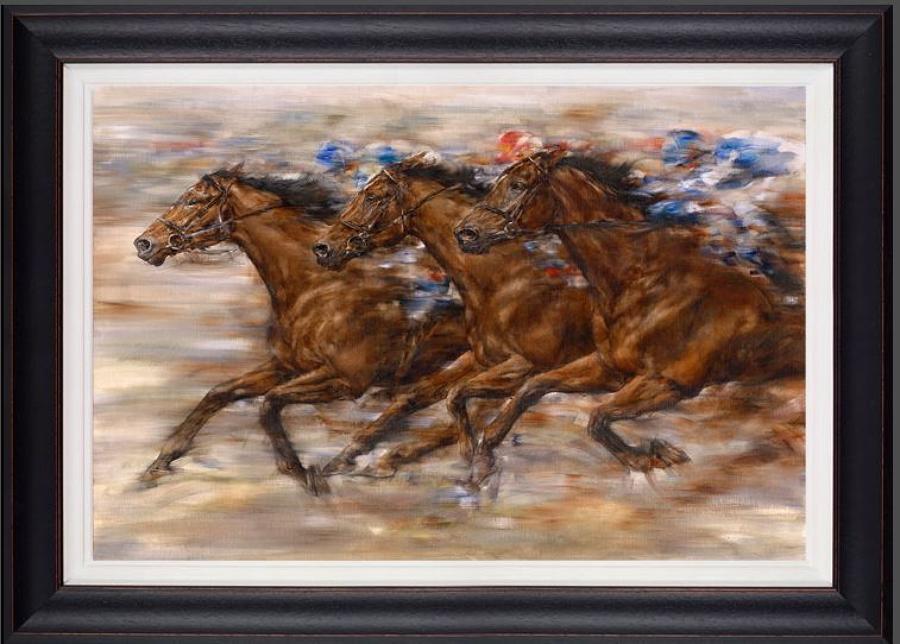 Gary Benfield - Racing - Framed Canvas Art Print