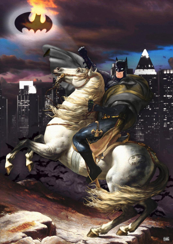 Batman Vs Napoleon art print by Gary John Jones