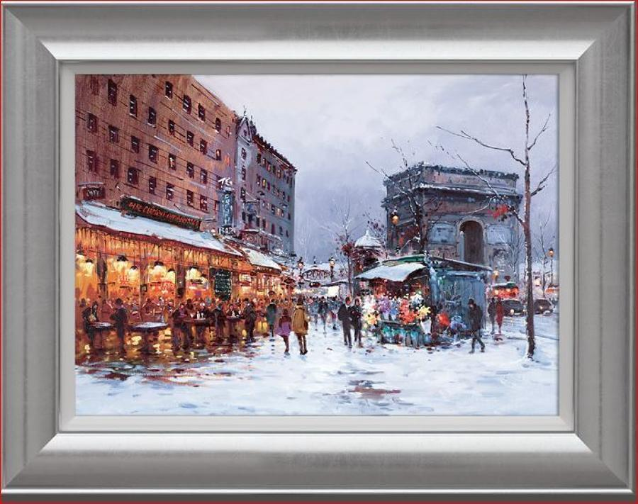Henderson Cisz - Paris In The Snow - Framed Canvas Art Print