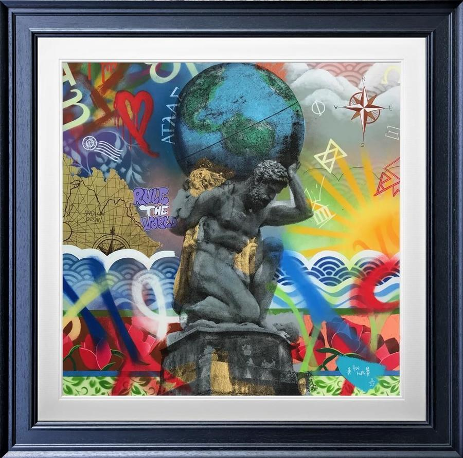 Atlas Framed Art Print by Hue Folk