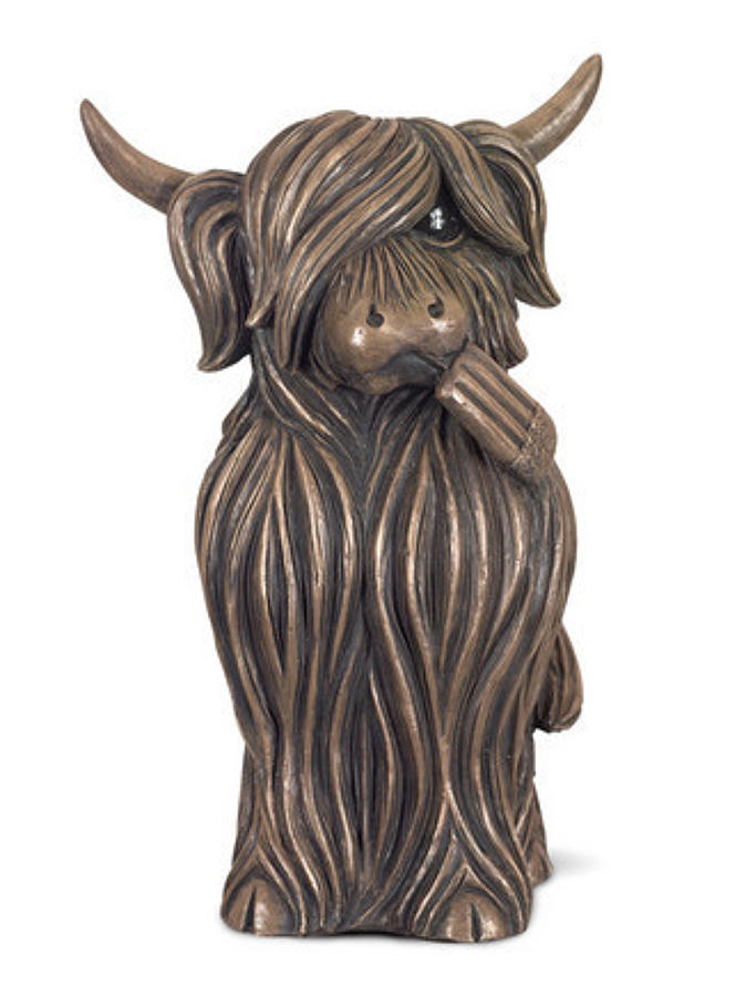 Fab bronze highland cow sculpture by Jennifer Hogwood