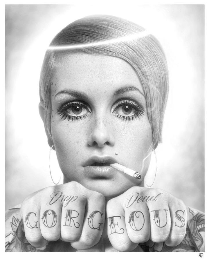 JJ Adams- Drop Dead Gorgeous - B/W - Framed Art Print