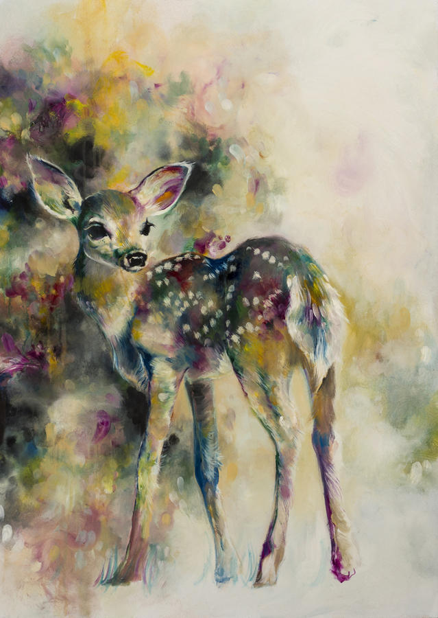Doe Eyed Framed art print by artist Katy JAde Dobson