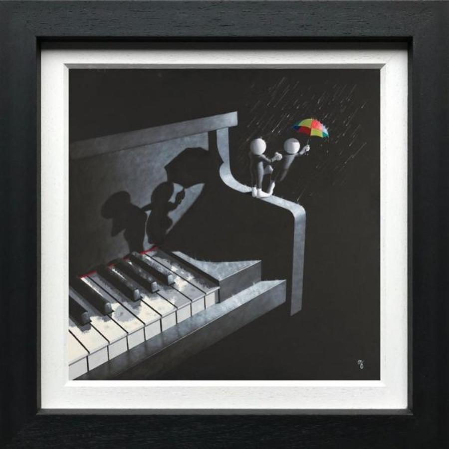 Singing In The Rain-Canvas Framed Art Print By Mark Grieves