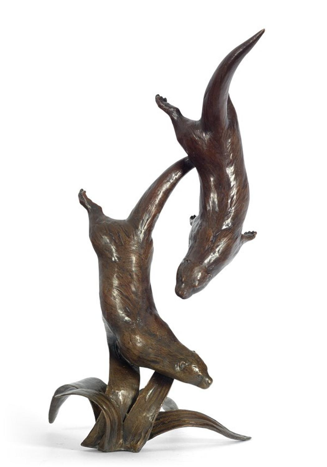 Out To Play bronze sculpture - Otters by artist Michael Simpson