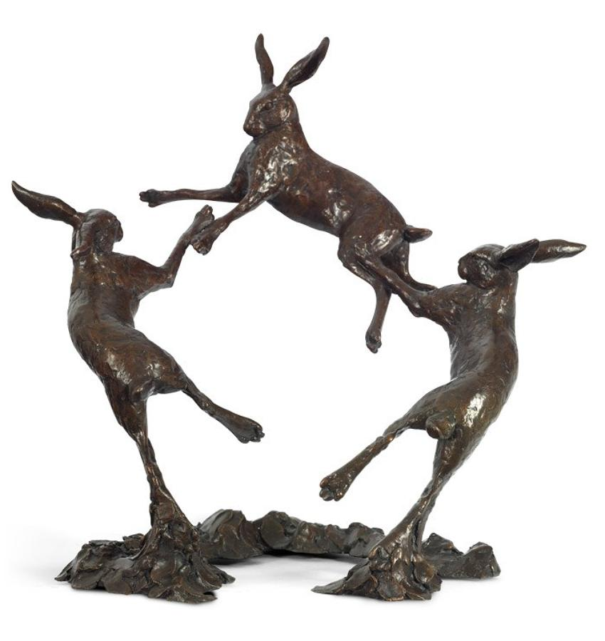 Moondance bronze hare sculpture by artist Michael Simpson
