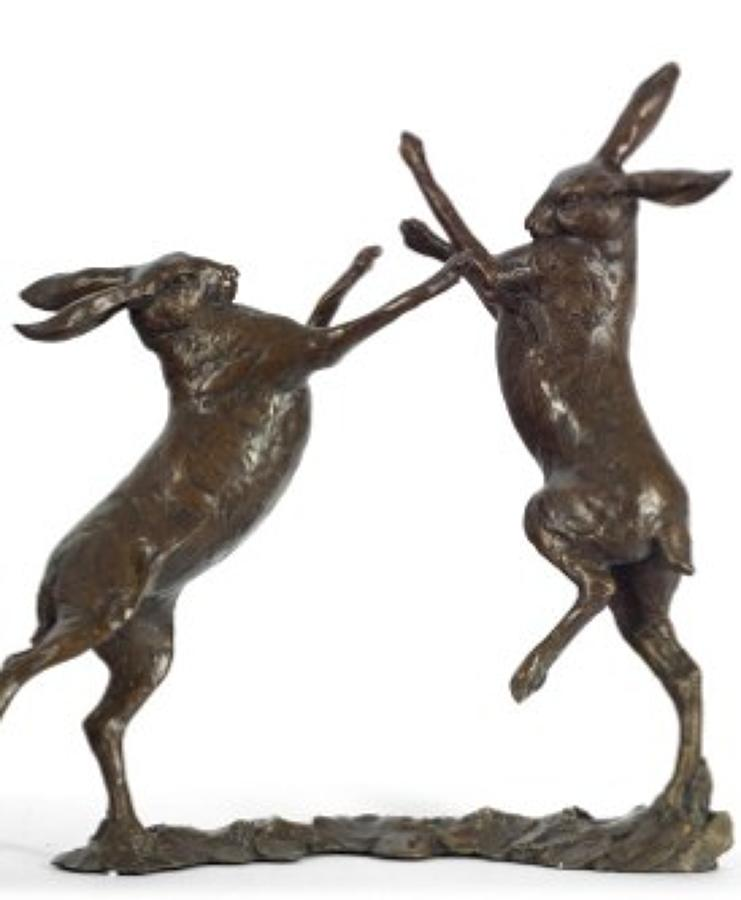 Dual bronze hare sculpture by artist Michael Simpson