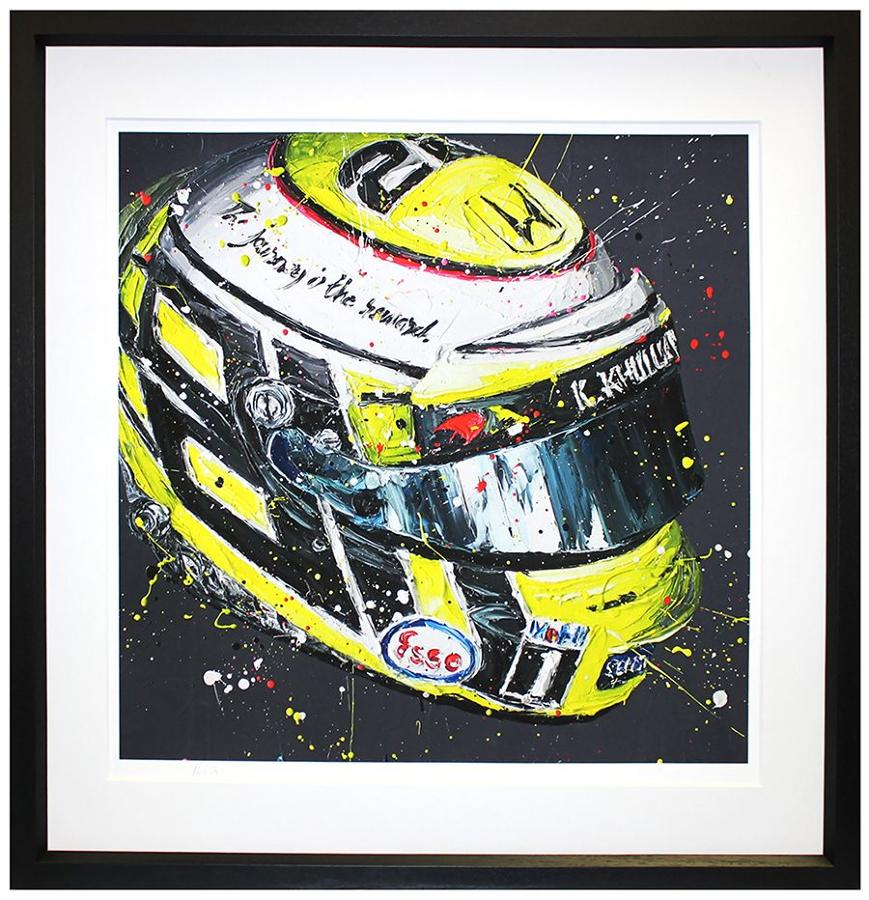 Jenson Button Last Lid Framed Canvas Art Print by Paul Oz