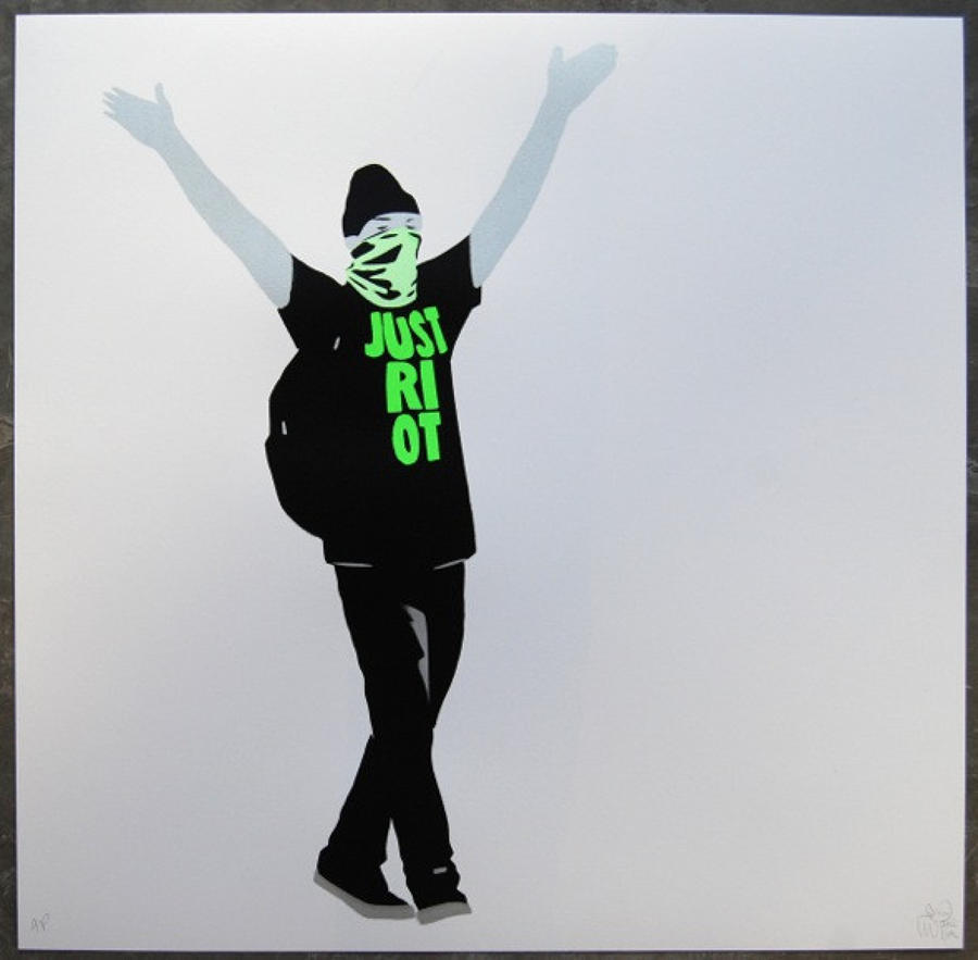 Just Riot-Art Print Flouro Green By Pure Evil