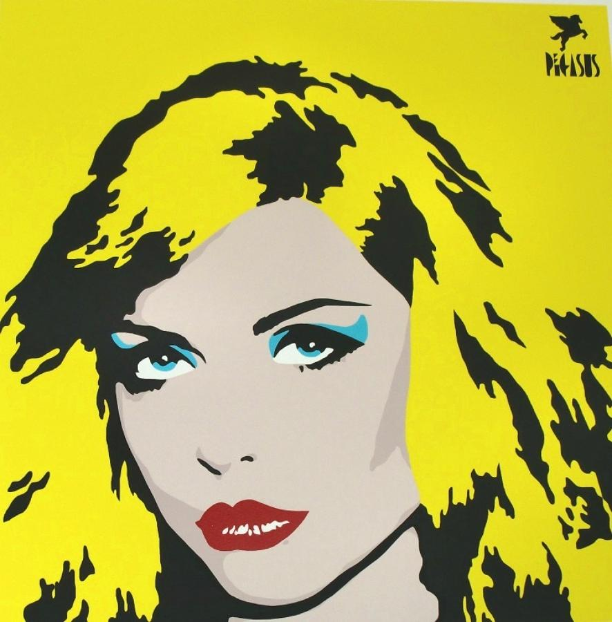 Blondie-Yellow art print (Debbie Harry) by street artist Pegasus