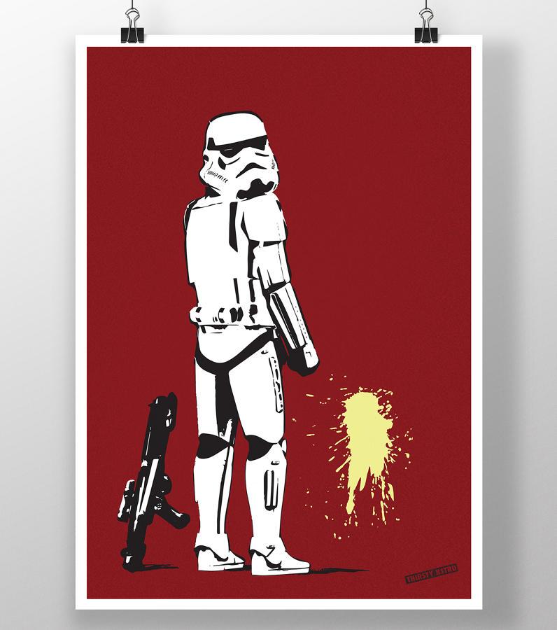Pissing Storm Trooper Silkscreen art print Thirsty Bstrd