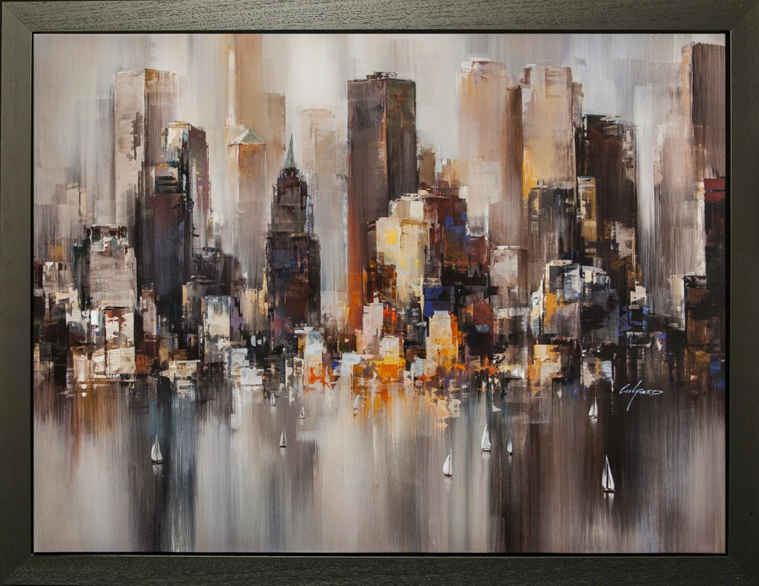 Good Morning NYC - Framed Canvas Art Print by Wilfred Lang