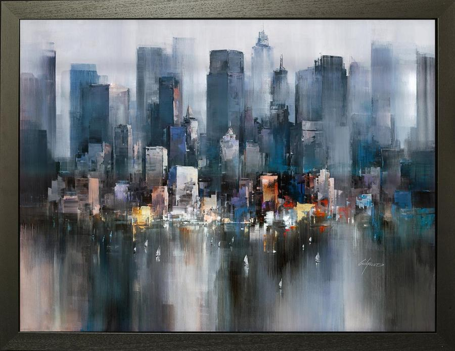 Evening Colours, NYC - Framed Canvas Art Print By Wilfred Lang