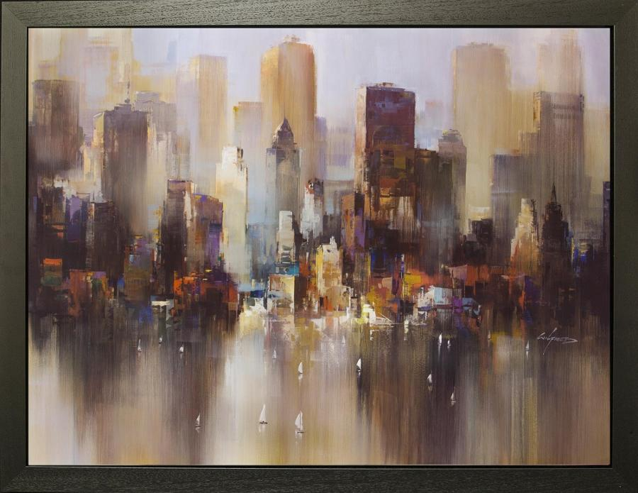 City Of Light - Framed Canvas Art Print by Wilfred Lang