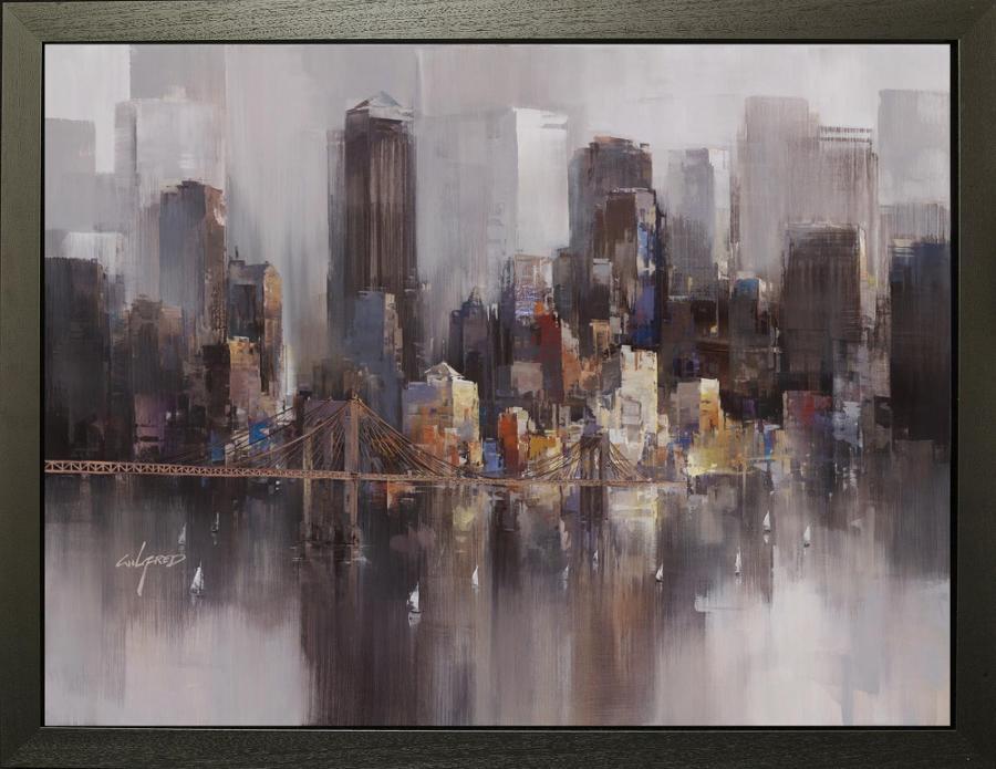 Bay Sailing, NYC - Framed Canvas Art Print by Wilfred Lang