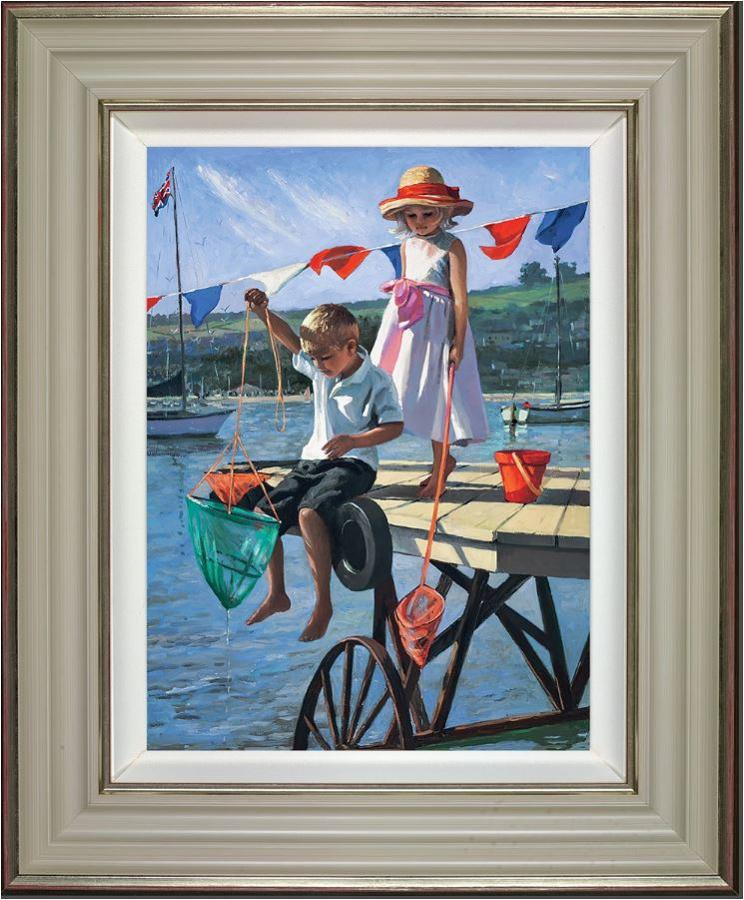 Fishing From the Jetty Framed Art Print by Sherree Valentine Daines