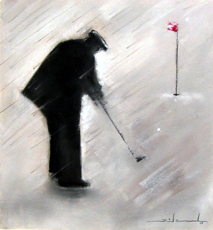 Determined Golfer Framed Art Print by David Cowden