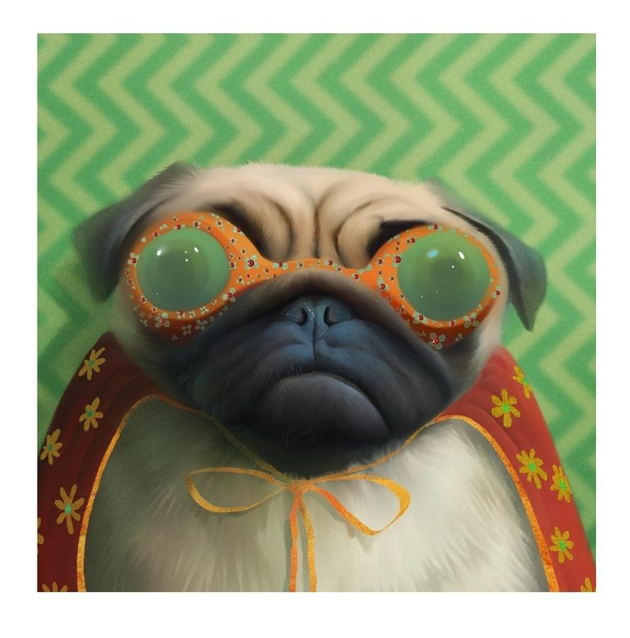 Super Pug Art Print by Stephen Hanson
