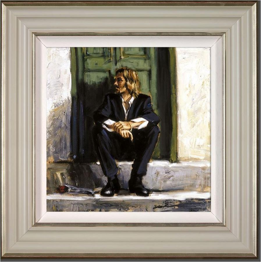 Fabian Perez-Waiting for the Romance to Come Back I - Framed Art Print