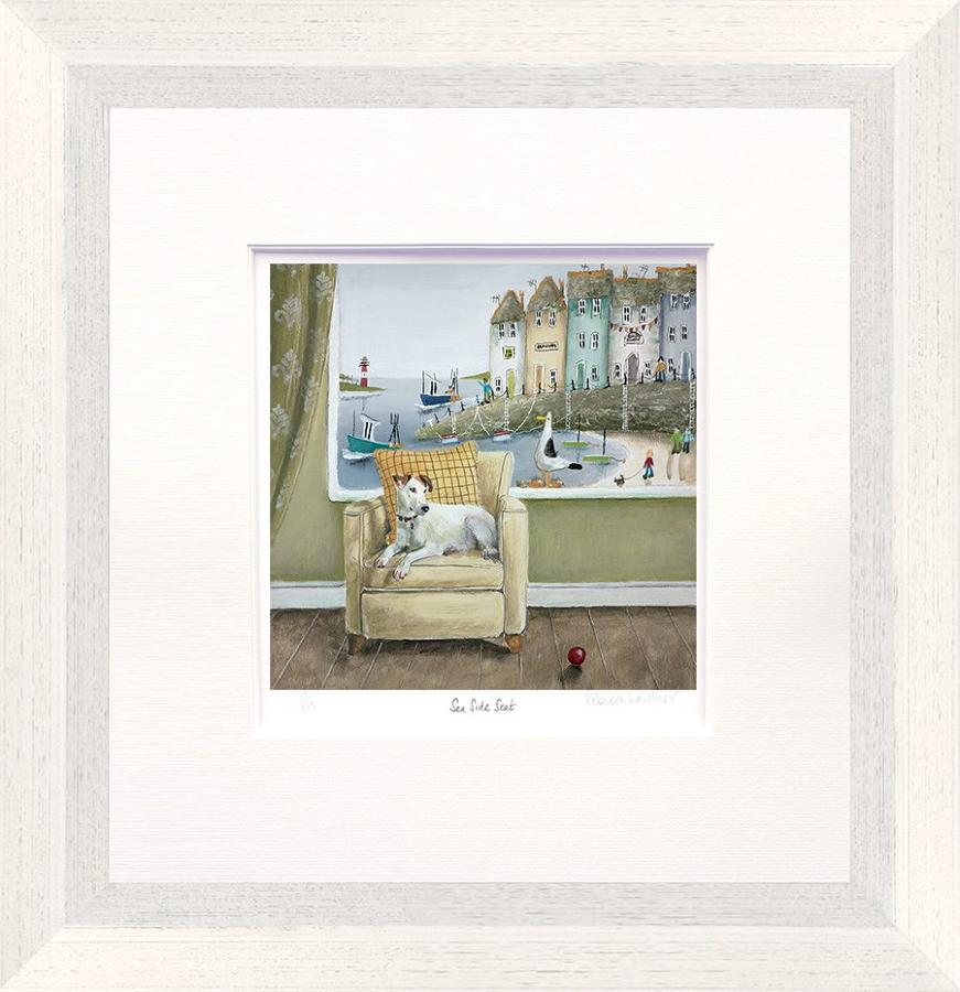 Sea Side Seat Art Print by Rebecca Lardner