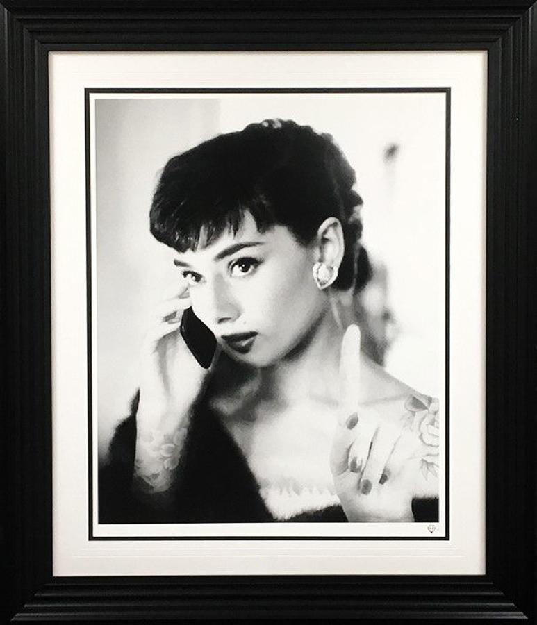 JJ Adams - Audrey Hepburn Selfie - Framed Art Print