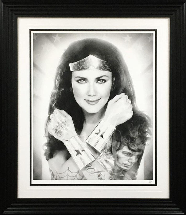 JJ Adams - Wonder Woman Black & White - Framed Art Print