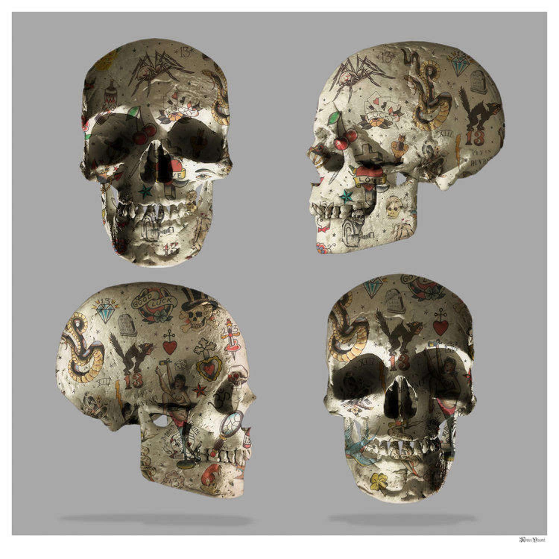 Tattooed Skulls Framed Art Print by Monica Vincent