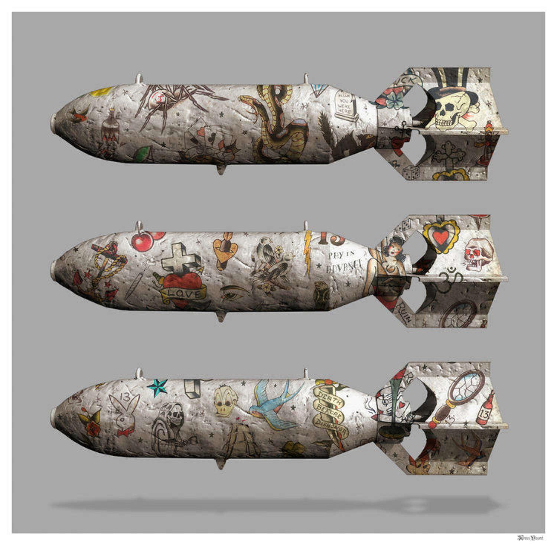 Tattoo Bombs Framed Art Print by Monica Vincent