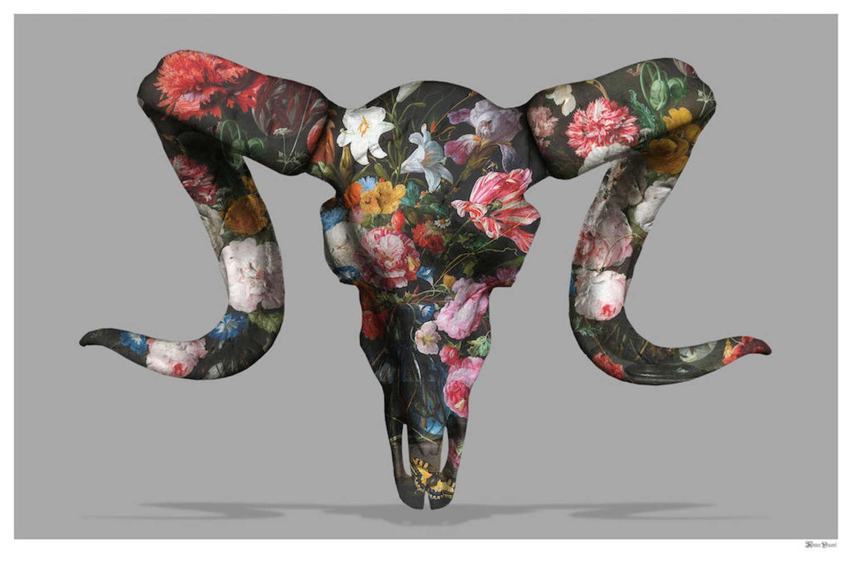 Floral Ram Skull Framed Art Print by Monica Vincent