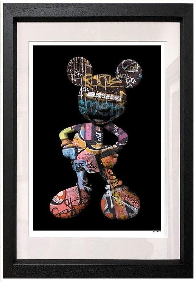 Graffiti Mickey Framed Art Print by Monica Vincent