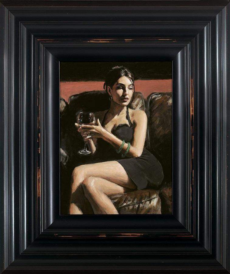 Fabian Perez - Tess on Leather Couch - Framed Canvas Art Print