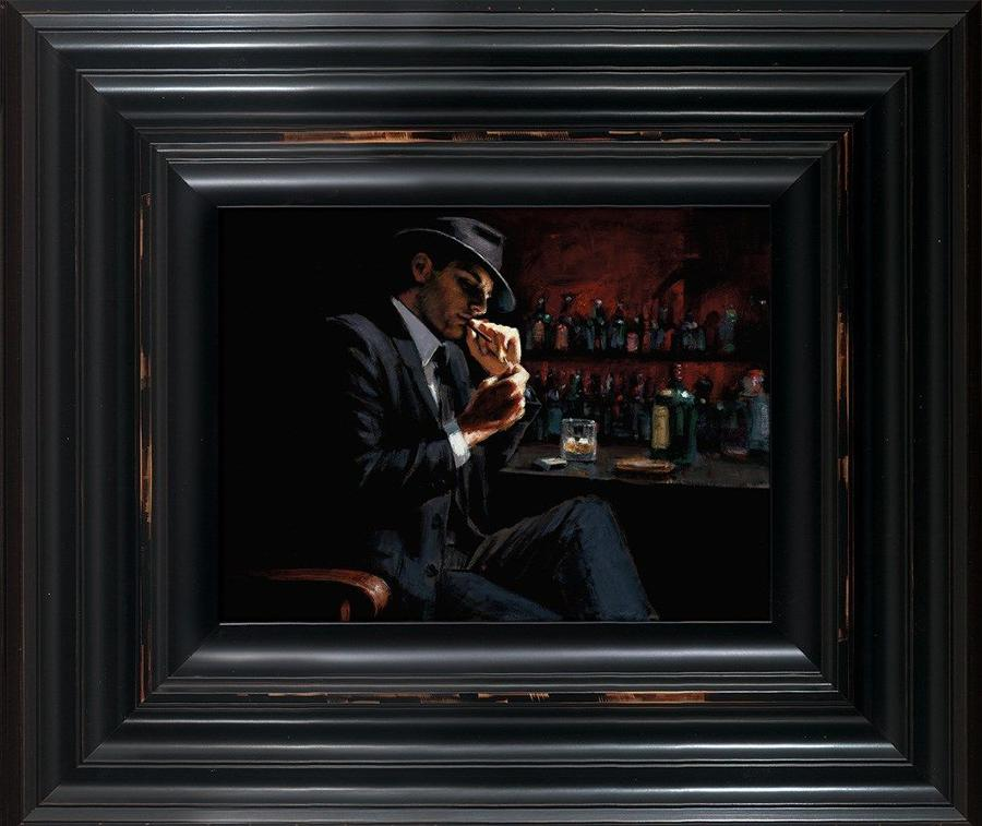 Fabian Perez - Man Lighting a Cigarette III - Framed Canvas Art Print