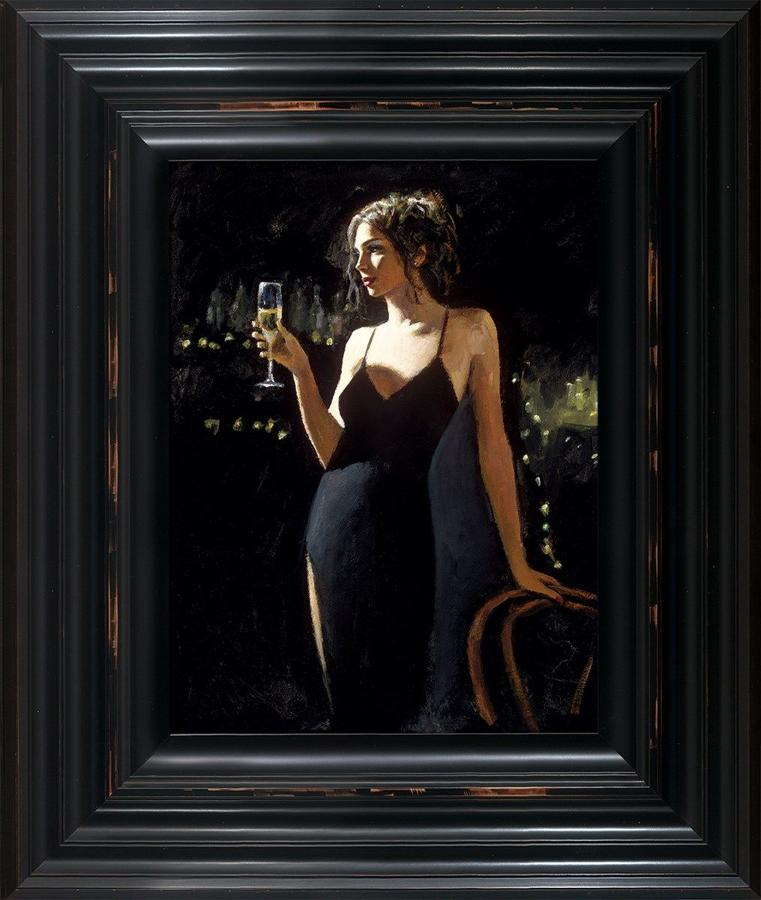 Fabian Perez - Tiffany with Champagne - Framed Canvas Art Print