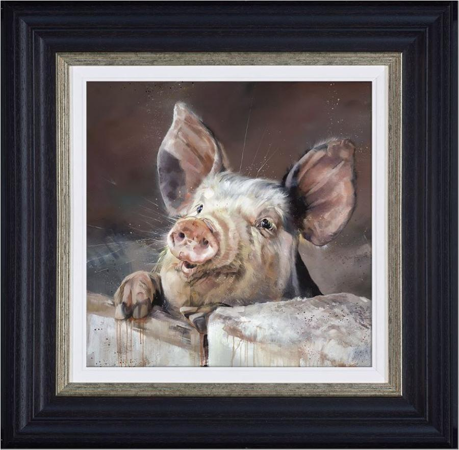 Pig Tale Framed Canvas Art Print by Debbie Boon