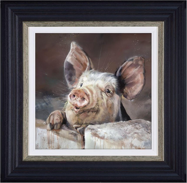Pig Tale Framed Canvas Art Print by Debbie Boon