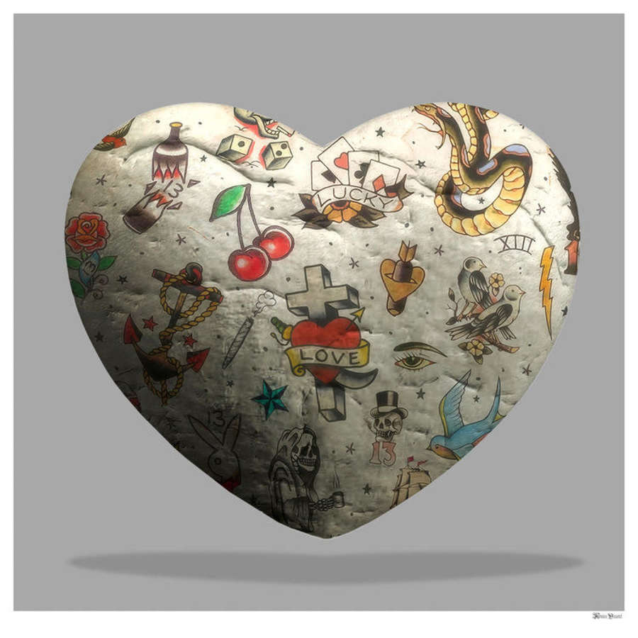 Tattooed Heart Framed Art Print by Monica Vincent
