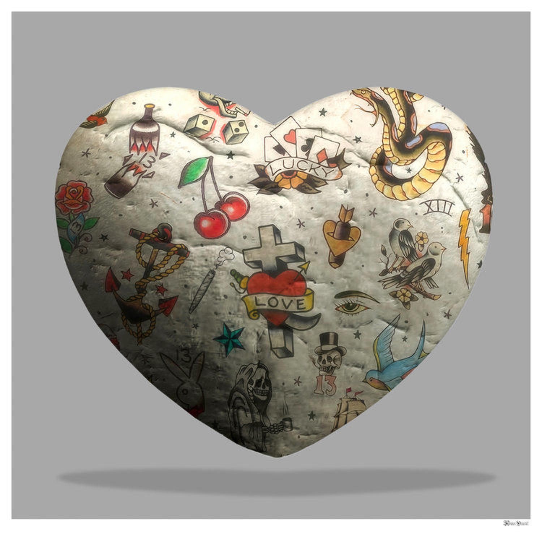 Tattooed Heart Framed Art Print by Monica Vincent