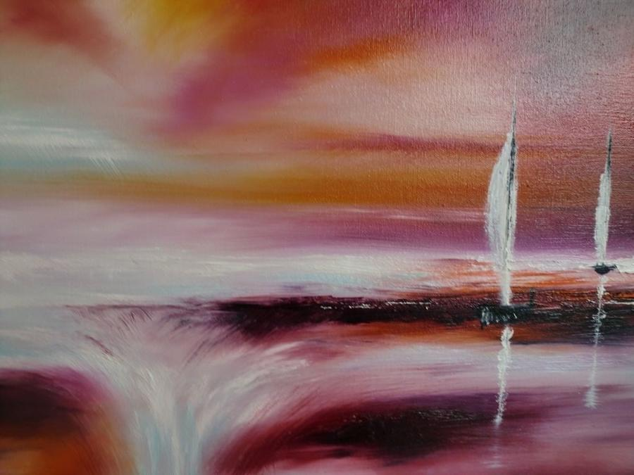 Melanie Jacobs Sailing Under Scarlett Skies Framed Original Artwork