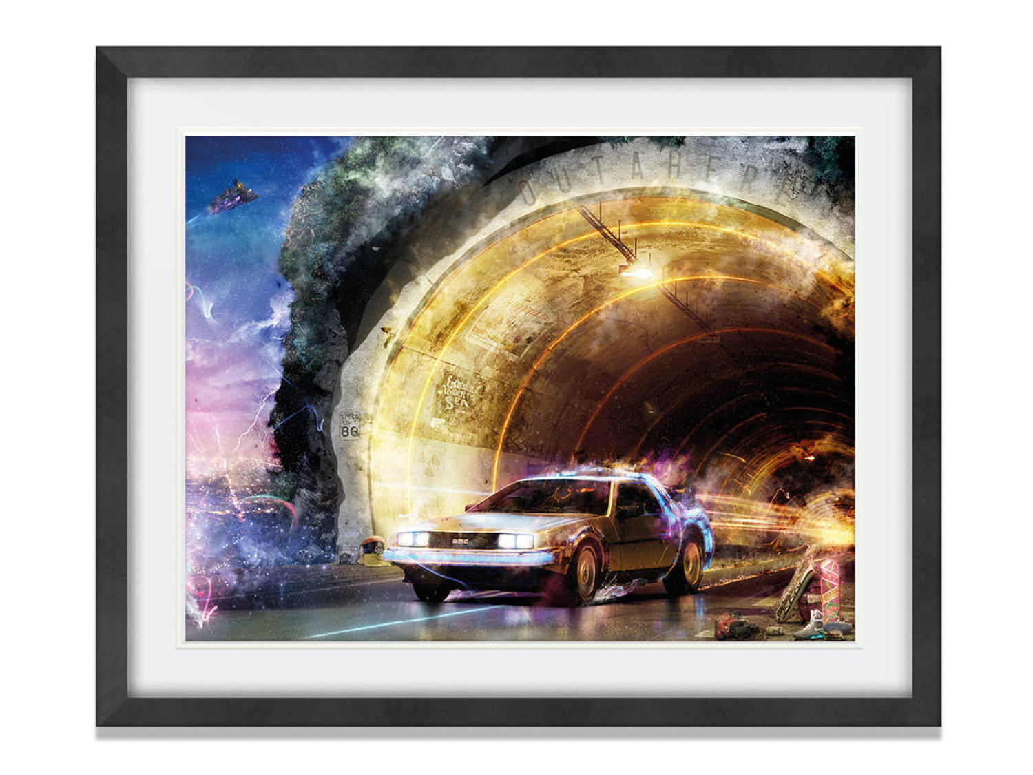 Outahere (Back to the Future) Framed Art Print by Mark Davies