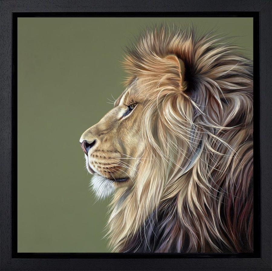 King of the Savannah by Darryn Eggleton Framed Canvas Art Print