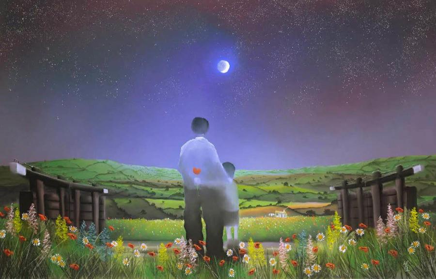 Under The Moon & Stars by Mackenzie Thorpe Framed Art Print