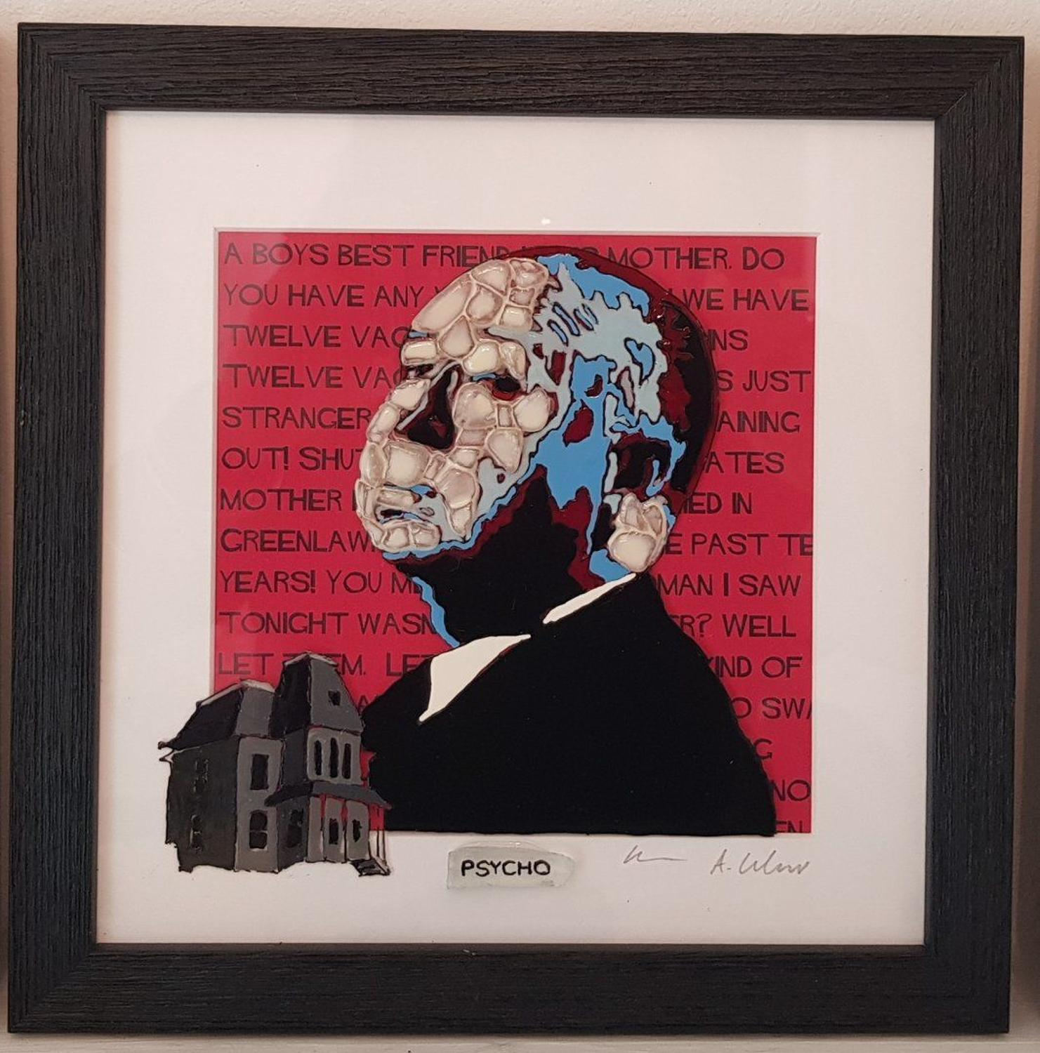 Hitchcock - Psycho by Sea On Glass Framed Art