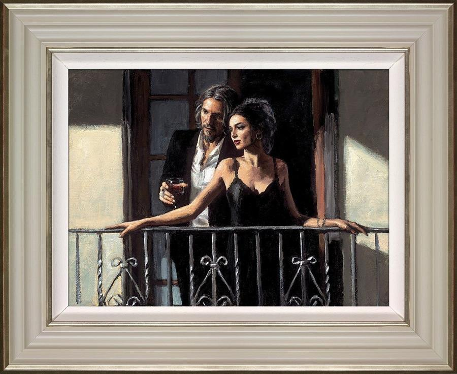 Fabian and Lucy at the balcony II By Fabian Perez Framed Art Print