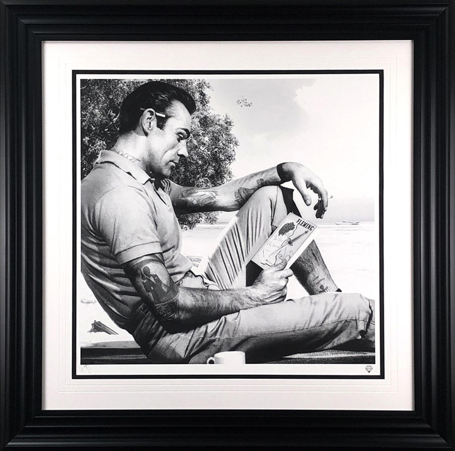 On Vacation (Black and White) Framed Art Print By JJ Adams