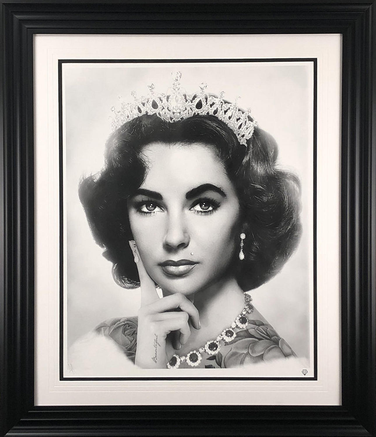 Elizabeth Taylor (Black and White) Framed Art Print By JJ Adams