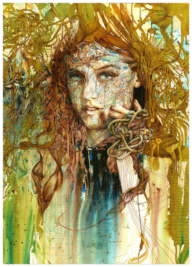 Entwined Art Print by Carne Griffiths
