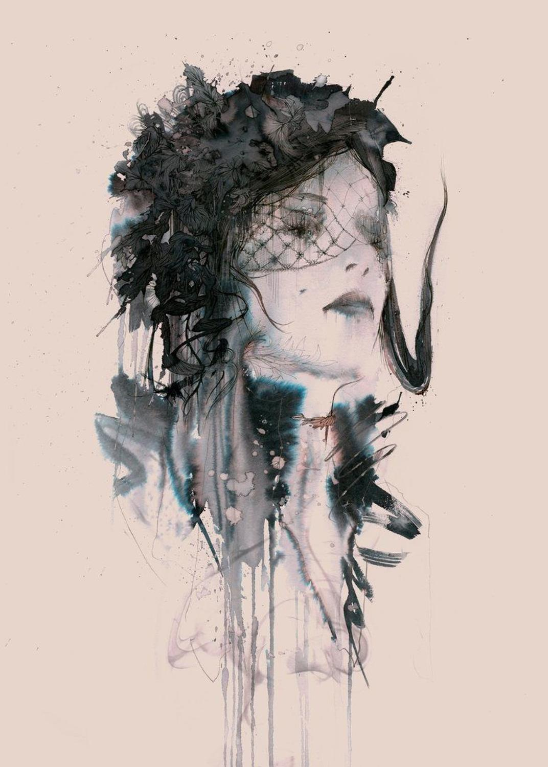 Woman in Black Art Print by Carne Griffiths