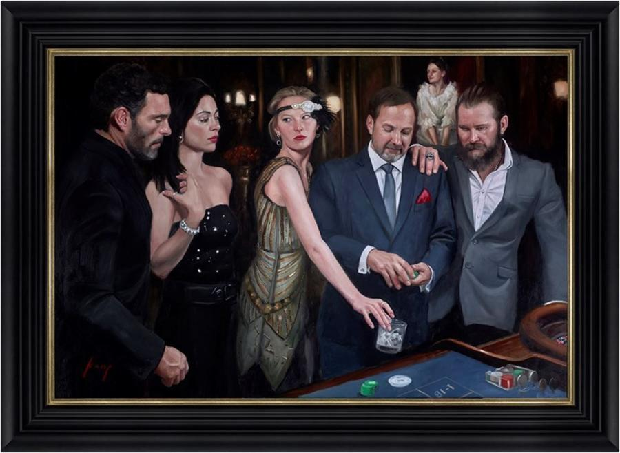 Diamond Roulette Framed Art Print On Canvas By Vincent Kamp